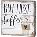Sincere Surroundings But First Coffee 8x8 Inch Box Sign Wood Pallet Wall Decor