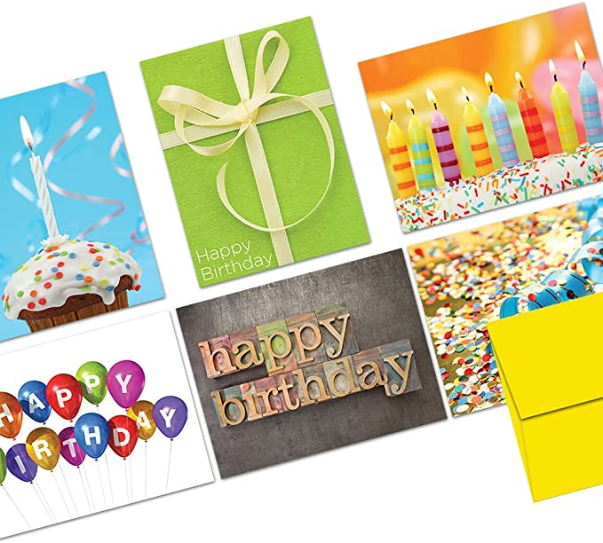 36 Pcs Happy Birthday Greeting Cards Assorted Set Lot Design And Yellow Envelope