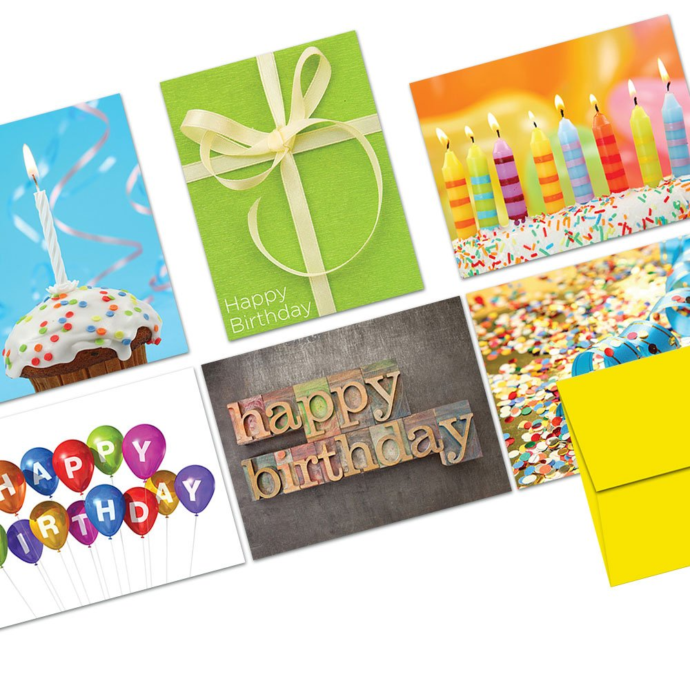 Happy Birthday Cards Assortment - 144 Pack - It's Your Birthday - 6 Unique Designs - YELLOW ENVELOPES INCLUDED -Greeting Cards - Glossy Cover Blank Inside - By Note Card Café by Note Card Café