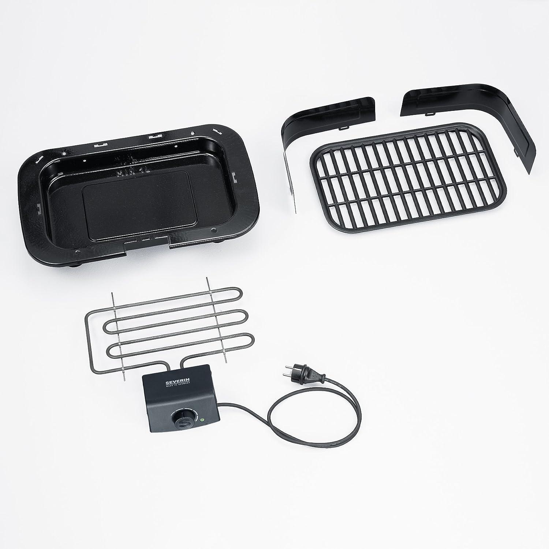 Severin PG 8539 Barbacoa Grill, 2300 W, Cable eléctrico 1, 40 m, Superficie de asado Aprox. 859 cm², Corta Vientos Desmontable, Negro, 37x23x31 cm: ...