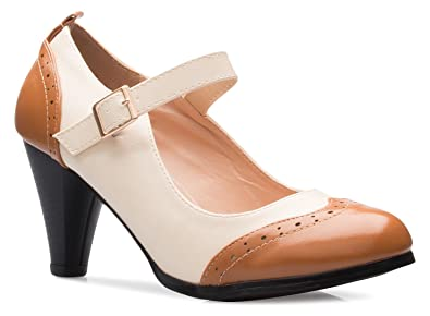 f099518094c OLIVIA K Womens Mary Jane Pumps - Low Heels - Two Color Vintage Retro Round  Toe Shoe