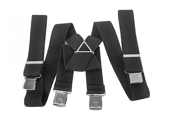 Bretelles homme INTARSI noir couleur unie longue 150 cm larges 3,5 cm 4  clips c62d32b06731