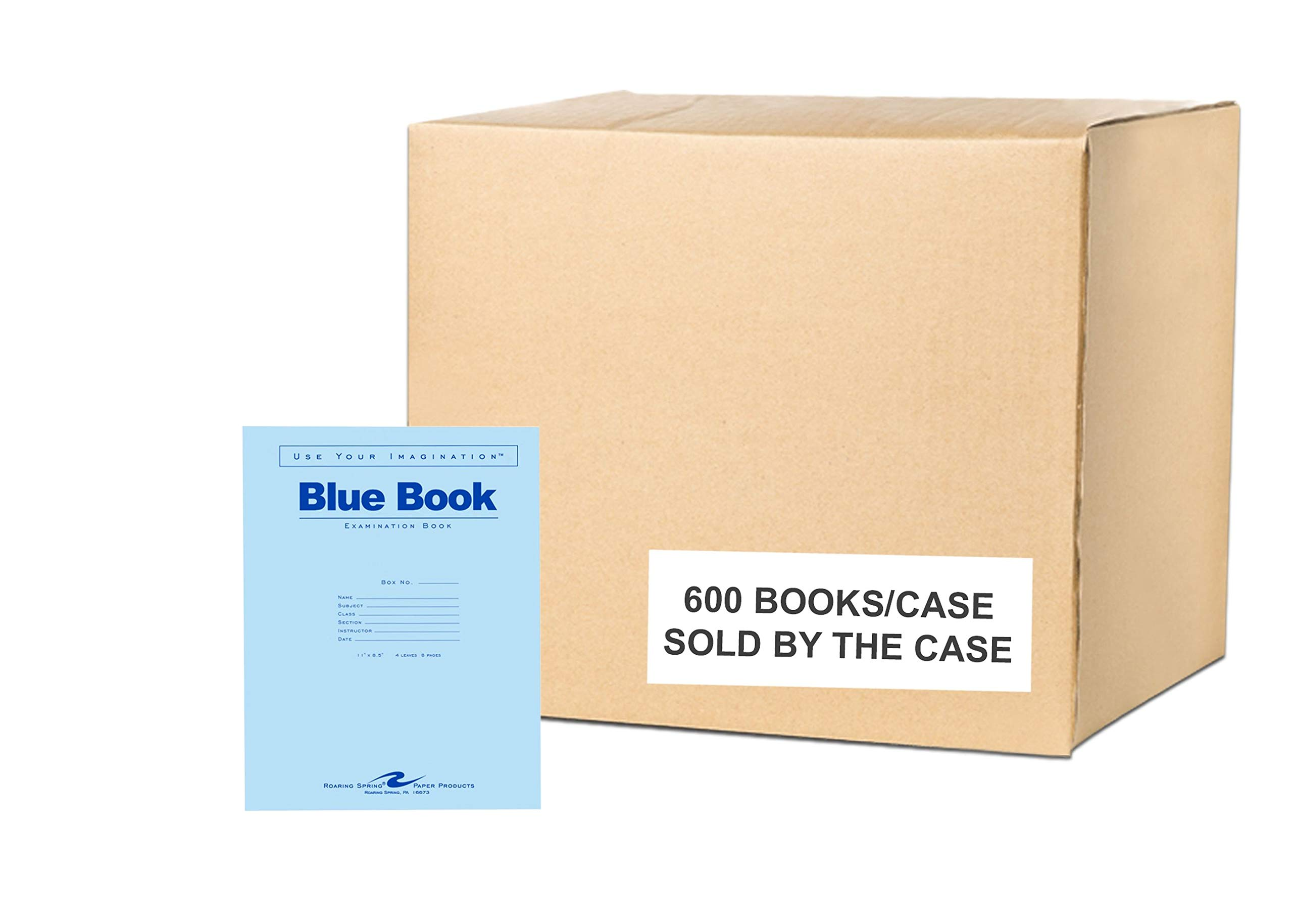 Case of 600 Exam Books, 11''x8.5'', 4 sheets/8 pages of 15# Smooth White Paper, Wide Ruled W/Margin, Heavy Blue Cover, Stapled by Roaring Spring Paper Products