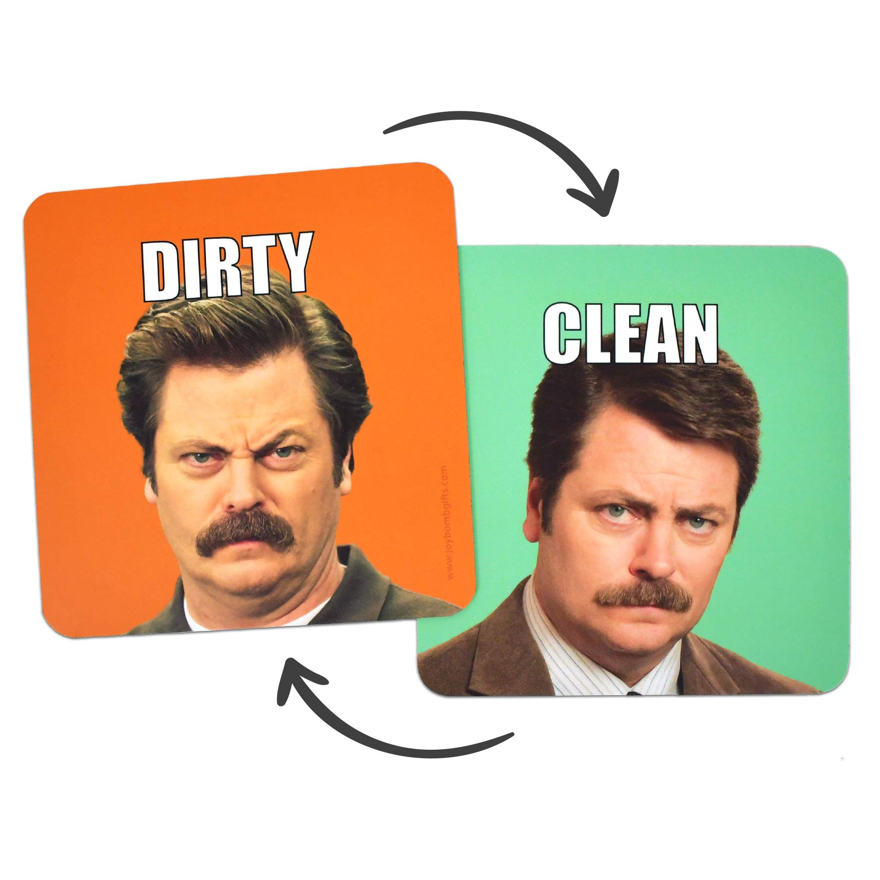 Joybomb Gift Co. Clean Dirty Dishwasher Magnet - Ron Swanson - Waterproof UV Coating - Made in The USA by Joybomb Gift Co.