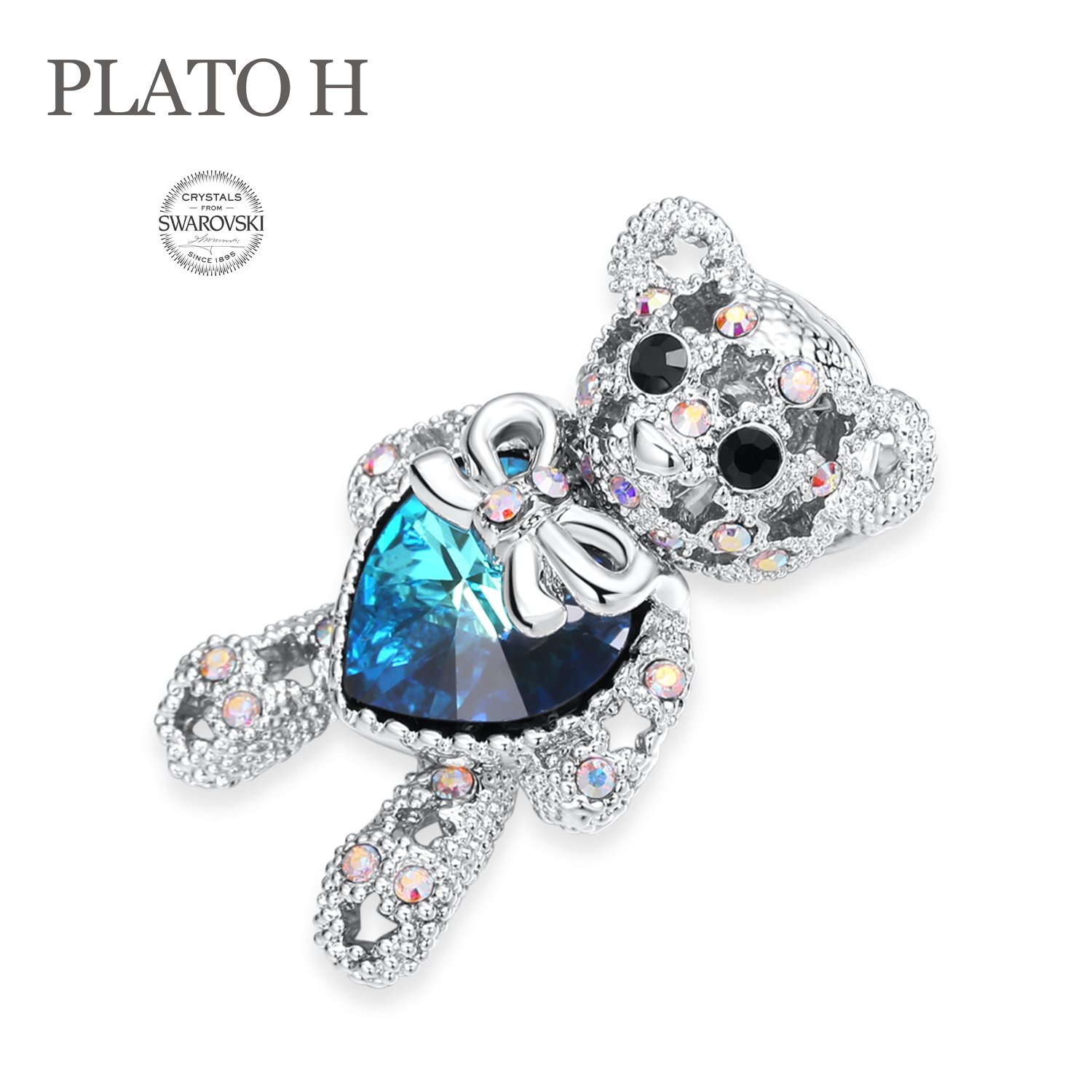 PLATO H Cute Animal Brooch Lovely Bear Heart Brooch & Pins with Swarovski Crystals, Fashion Jewelry Gift for Women,, Blue Crystal Bear Brooch by PLATO H (Image #3)
