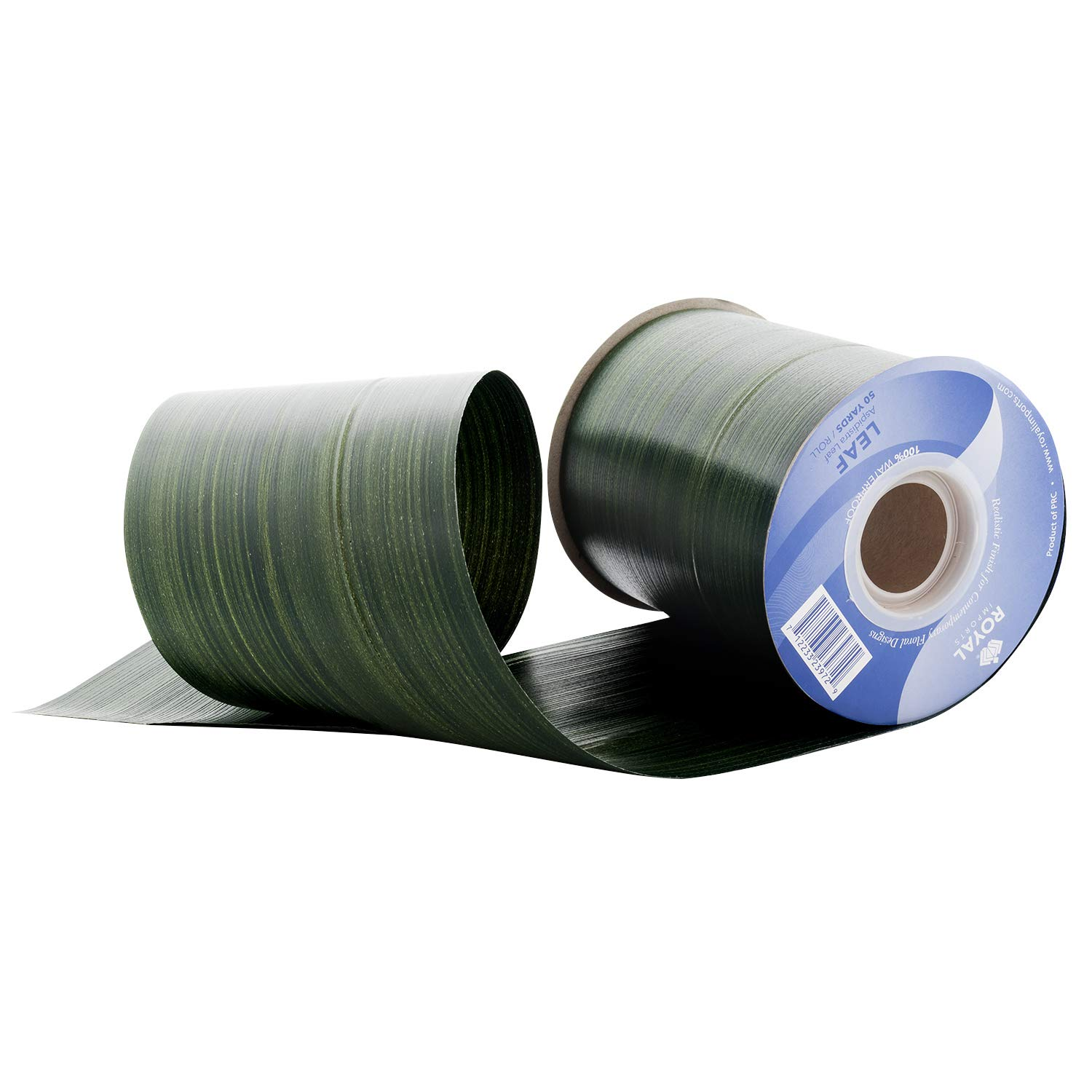 Green Aspidistra Ti Leaf Pattern Poly Satin Waterproof Ribbon 4'' (#100) Floral & Craft Decoration, 50 Yard Roll (150 FT Spool) Bulk, by Royal Imports by Royal Imports (Image #1)