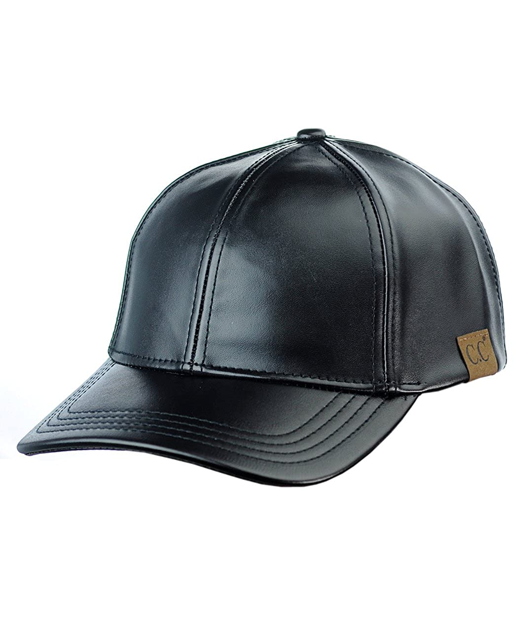 NYfashion101 Unisex Adjustable PU Leather Precurved Bill Baseball Cap Hat