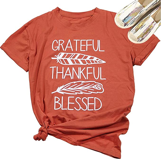 4844fd33 Grateful Thankful Blessed Feather Leaf Funny T-Shirt Womne Short Sleeve Tee  Tops Size M