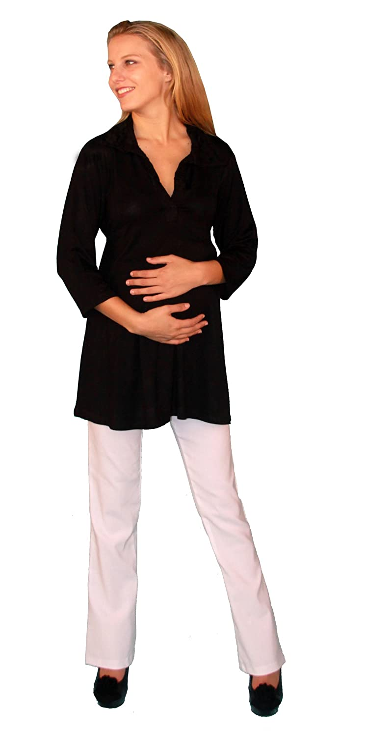 Two Piece Maternity Brown Outfit Set with White Elastic Waist Pants Long Sleeve