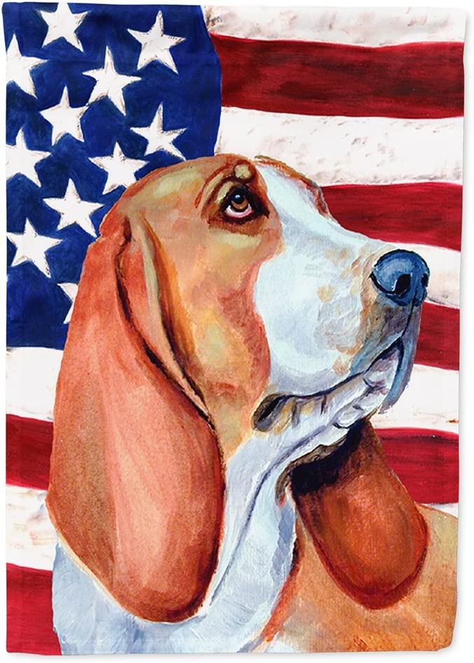 Caroline's Treasures LH9017GF USA American Flag with Basset Hound Flag Garden Size, Small, Multicolor