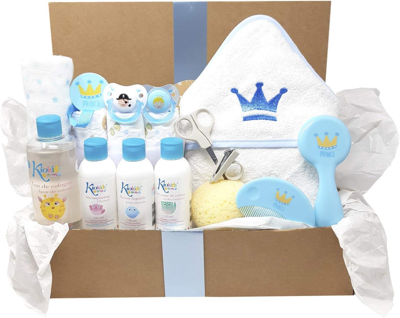 Mababyshop- Canastilla recién nacido modelo Royal Bath, regalo original para recien nacido ideal como cesta de baño bebé (Azul)