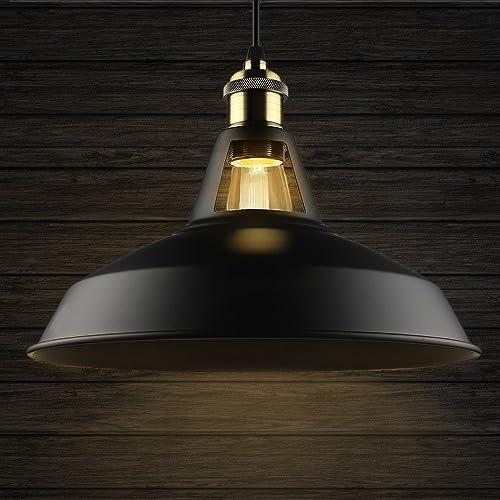B2ocled metal pendant light shade black retro industrial ceiling b2ocled metal pendant light shade black retro industrial ceiling lampshades lighting shades aloadofball Images