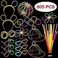 Glow Stick Party Set - 605 Pieces - Includes Connectors to Create Necklaces Bracelets Glasses Heart Glasses Hats…
