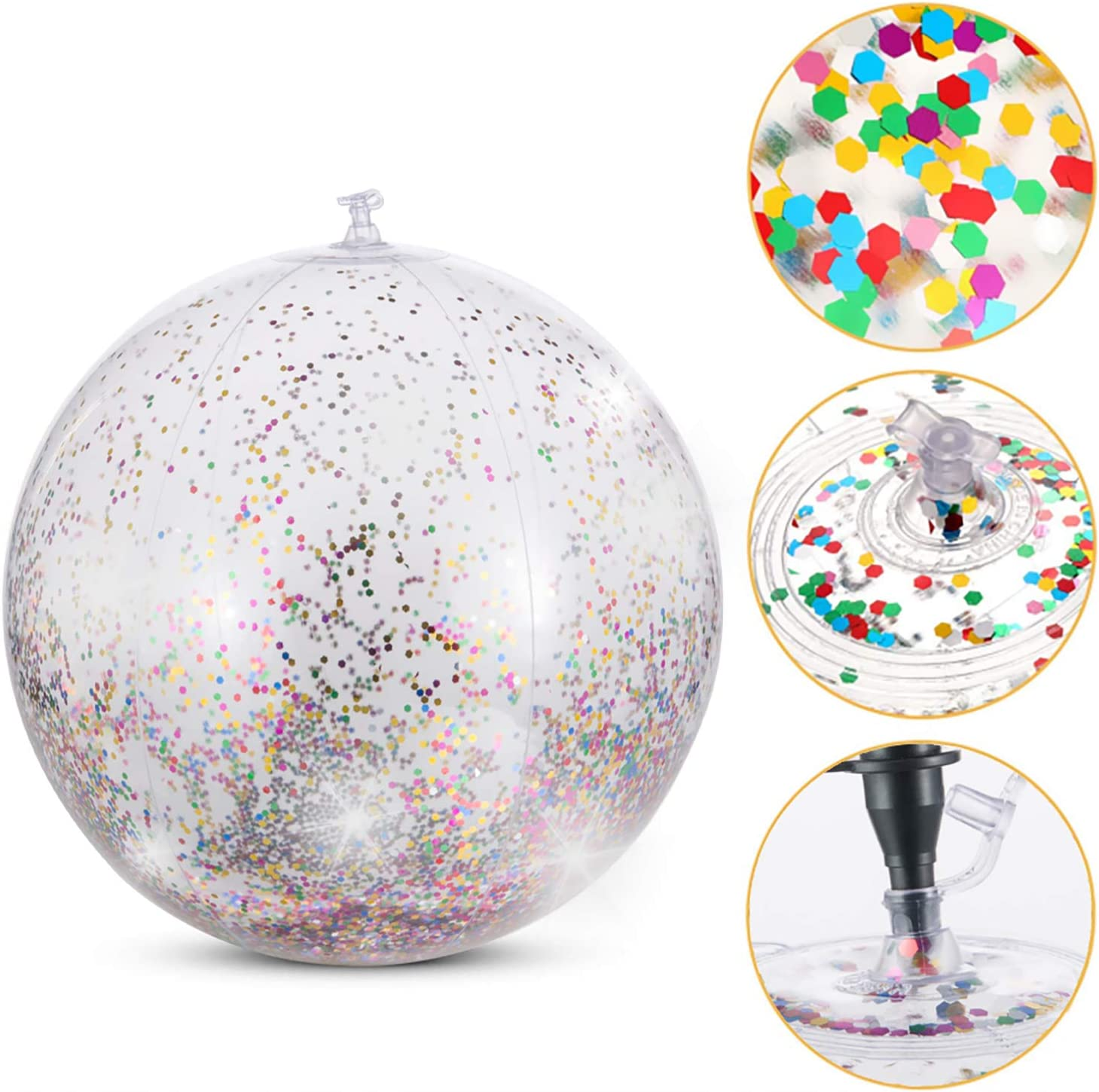 24 Inch 16 Inch 2 Pieces Sequin Beach Ball Inflatable Glitter Beach Ball for Summer Beach Favor