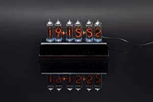 Millclock IN-14 Nixie Tube Clock Assembled with Acrylic and Wood Enclosure Adapter 6-Tubes