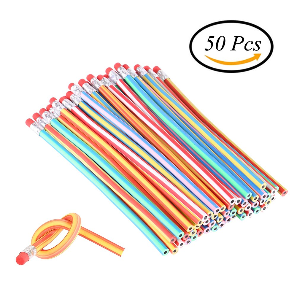 CCINEE 50 Pieces Soft Flexible Magic Bendy Pencils School Fun Equipment
