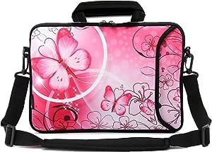 RICHEN 14 15 15.4 15.6 inch Laptop shoulder bag Messenger Bag Case Notebook Handle Sleeve Neoprene Soft Carring Tablet Travel Case with Accessories pocket (14-15.6 inch, Pink Butterfly)