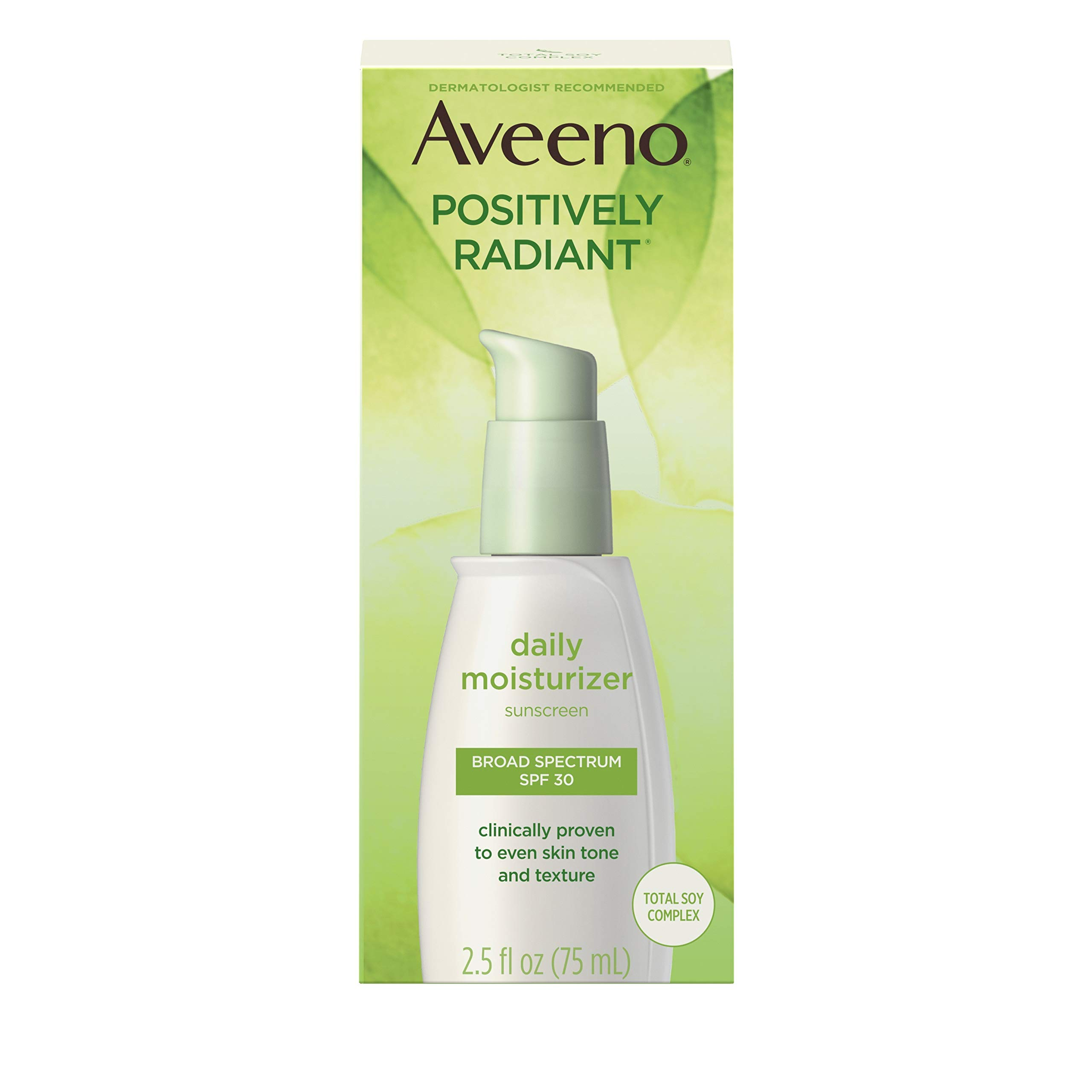 Aveeno Positively Radiant Daily Facial Moisturizer with Total Soy Complex and Broad Spectrum SPF 30 Sunscreen, Oil-Free and Non-Comedogenic, 2.5 fl. oz by Aveeno