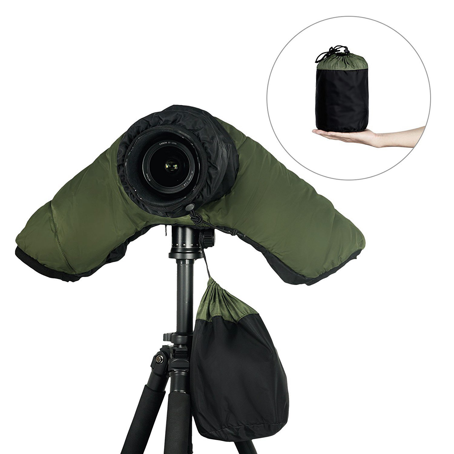 Mekingstudio Cold-proof Waterproof Camera Rain Cover Protector Rainproof with Hand Sleeves for DSLR SLR Cameras Army Green