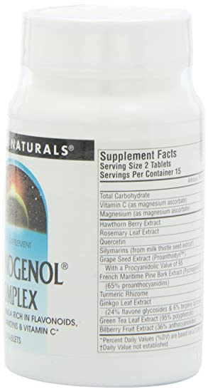 Amazon.com: Source Naturals Pycnogenol Complex Antioxidant Formula Rich In Flavonoids, Proanthocyanidins & Vitamin C - 30 Tablets: Health & Personal Care