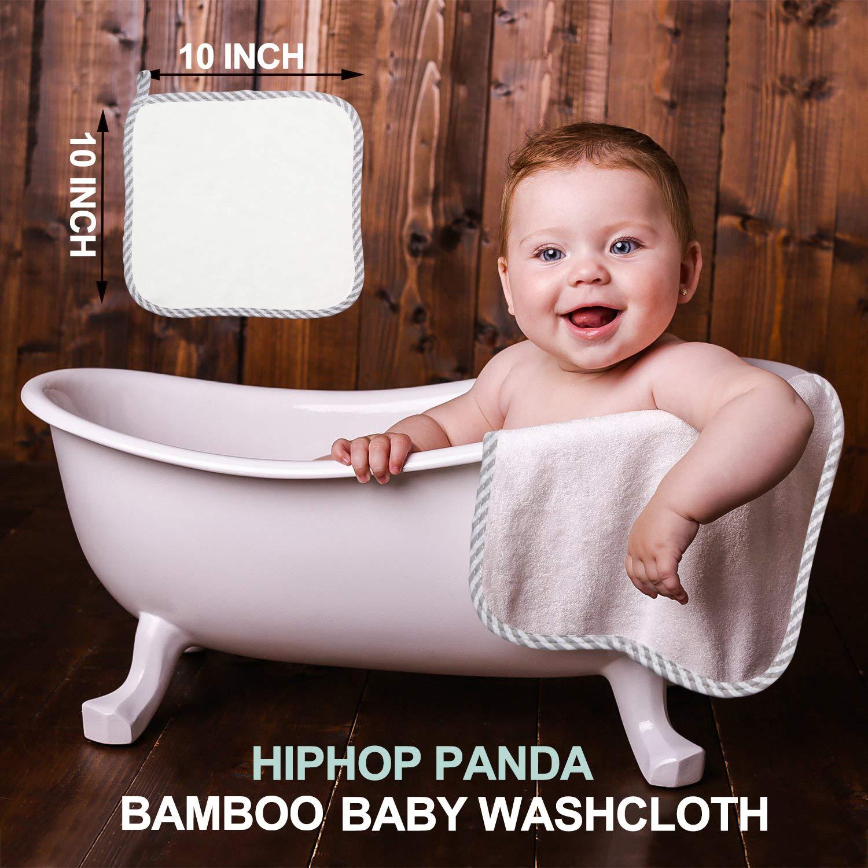 Hypoallergenic Bamboo Baby Washcloths - 2 Layer Ultra Soft Absorbent Bamboo Towel - Newborn Bath & Face Towel - Washcloths for Sensitive Skin - Boy Girl Shower Gift (Gray Stripe)