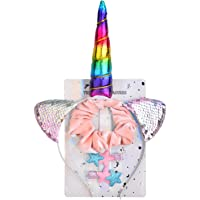 Lux Accessories Metallic Rainbow Unicorn Horn Silver Sequins Cat Ears Pony Tail Stars Hair Clips Set