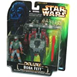 Star Wars Year 1996 Deluxe Series 4 Inch Tall Action Figure Vehicle Playset - BOBA FETT with Wing-Blast Rocketpack, Overhead Cannon and 1 Missile