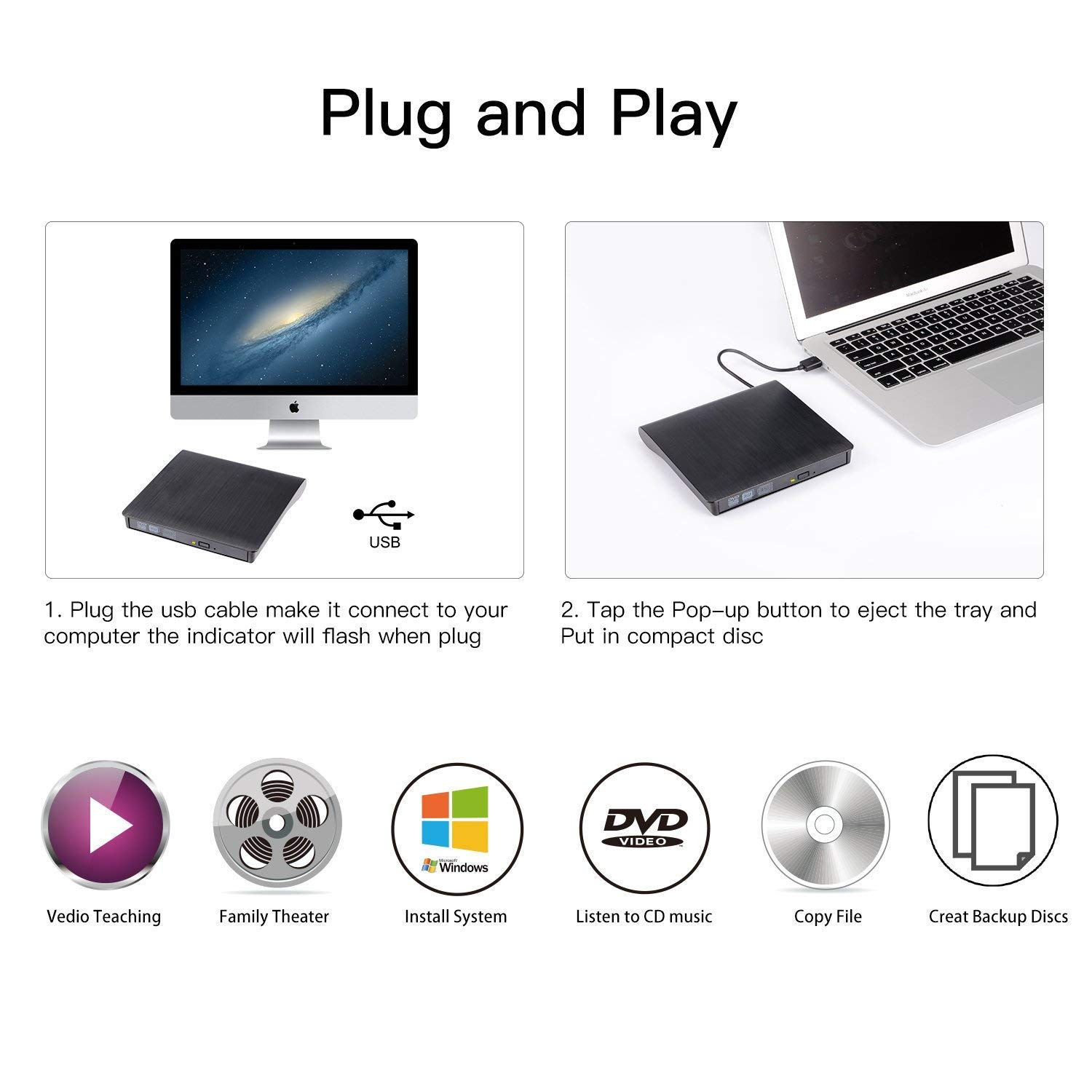 Charlemain Lettore CD Dvd Esterno Masterizzatore USB 3.0+Type C Portatile Lettura/Scrittura CD-R Dvd-RW per PC MacBook PRO/Air Laptops Windows (Nero)