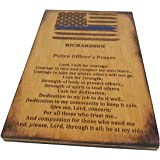 Personalized Police Officer Prayer Sign - Distressed American Flag with Thin Blue Line and Police Officer's Prayer - Police Decor