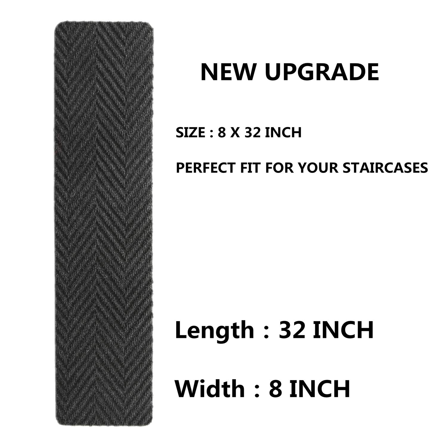 """Indoor Outdoor Pet Dog Stair Treads Pads Non Slip Stair Treads Carpet Set of 13 Crafted PVC fibber Backing for Child Proofing//Elderly Safety Non-Slip Stairway Carpet Rugs 8/"""" x 32 ,Grey"""