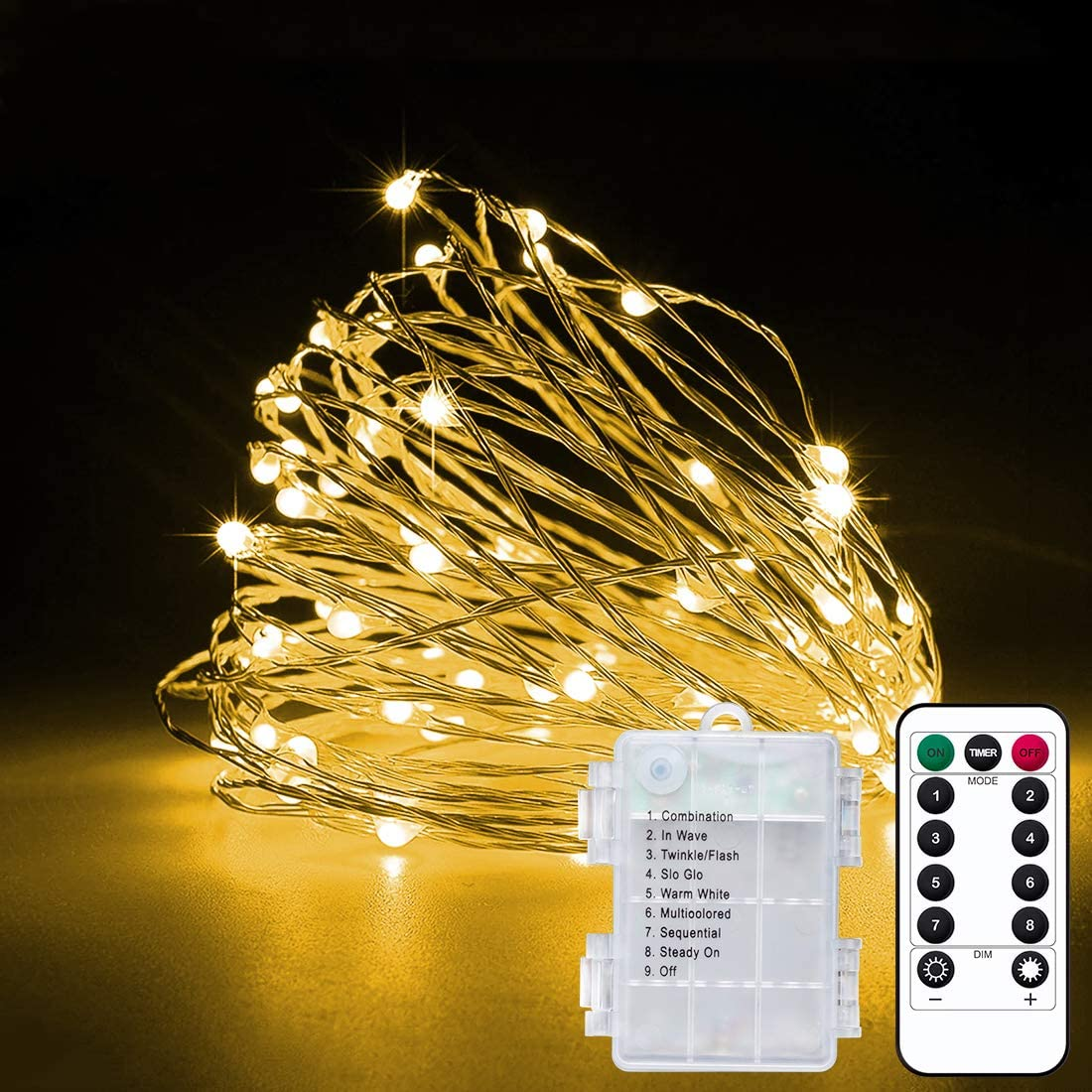 2 Pack 33Ft 10M Battery Powered Fairy Lights Indoor String Light Twinkle Lights with Remote for Wedding Garden Party Decorative Lighting Christmas Light Decoration Warm White