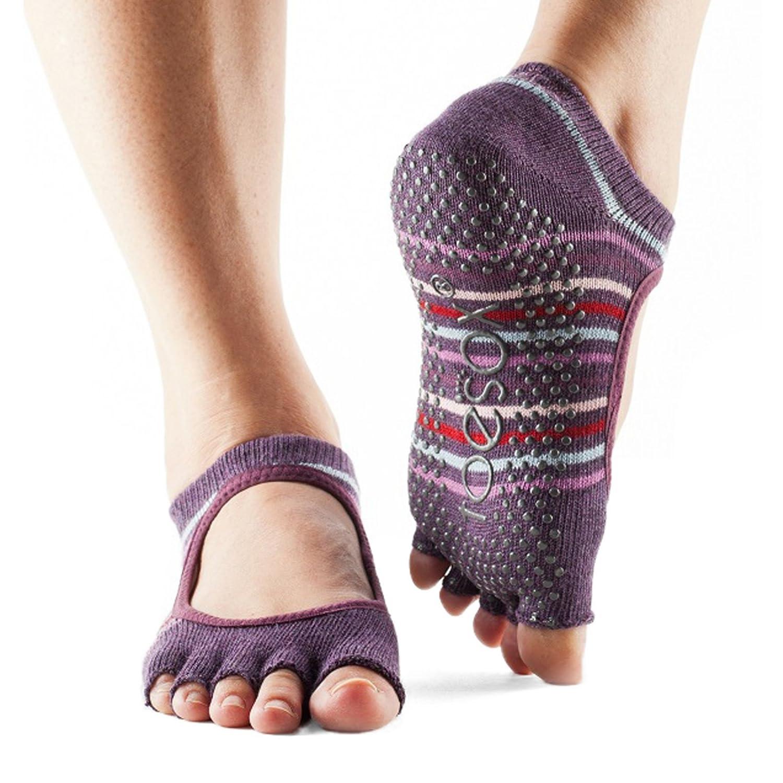 aus biologischer Baumwolle vorne offen Damen 1 Paar ToeSox Bella Yogasocken 5-Zehen-Design in fuchsia