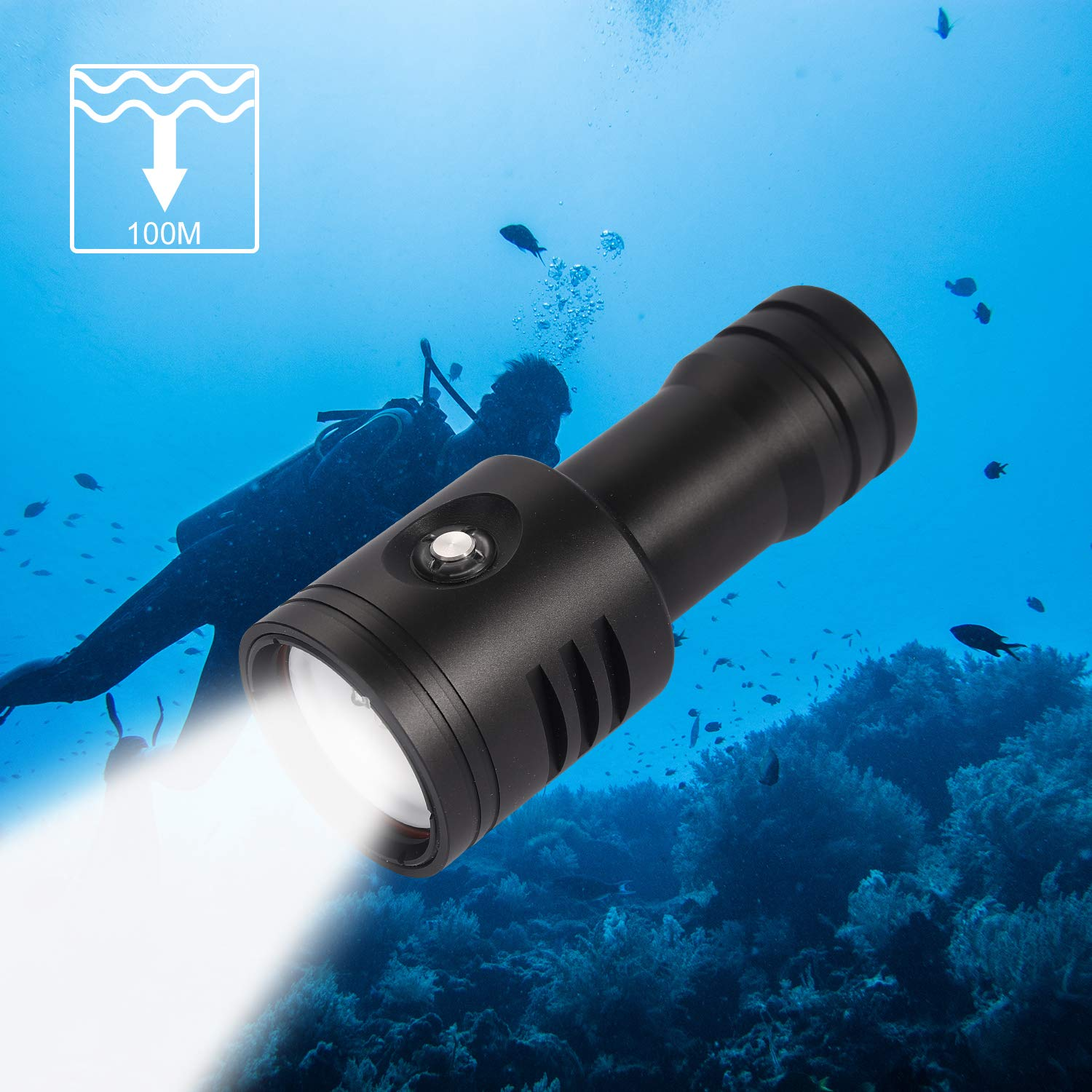 YCS Scuba Diving Photography Underwater Flashlight 4000 Lumens, Wide 120 Degrees Beam Angle with 26650/18650 Rechargeable Li-on Battery and Ball Joint(Battery Included) by YCS