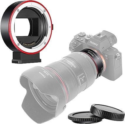 Neewer Adattatore Elettronico per Montaggio AF Messa a Fuoco Automatica Controllo dellApertura Compatibile con Canon EF//EF-S Obiettivo per Sony E-Mount Telecamere per Sony A9 A6500 A7 A6000 ecc