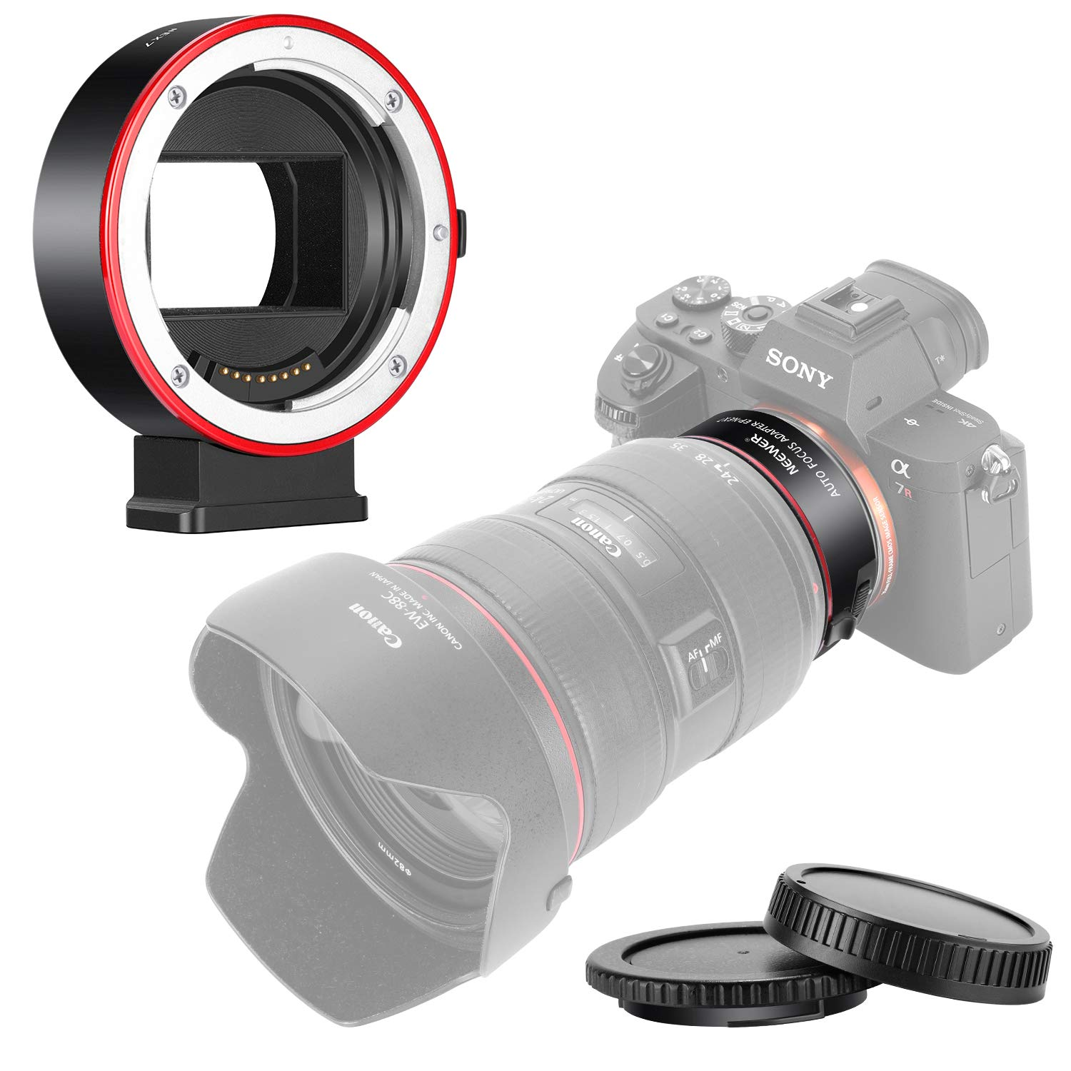 Neewer Electronic AF Lens Mount Adapter Auto Focus Aperture Control Compatible with Canon EF/EF-S Lens to Sony E-Mount Cameras for Sony A9/A7R3/A7R2/A7M3/A7M2/A6500/A6300/A7R/A7S2/A7S/A7/NEX7/A6000 by Neewer