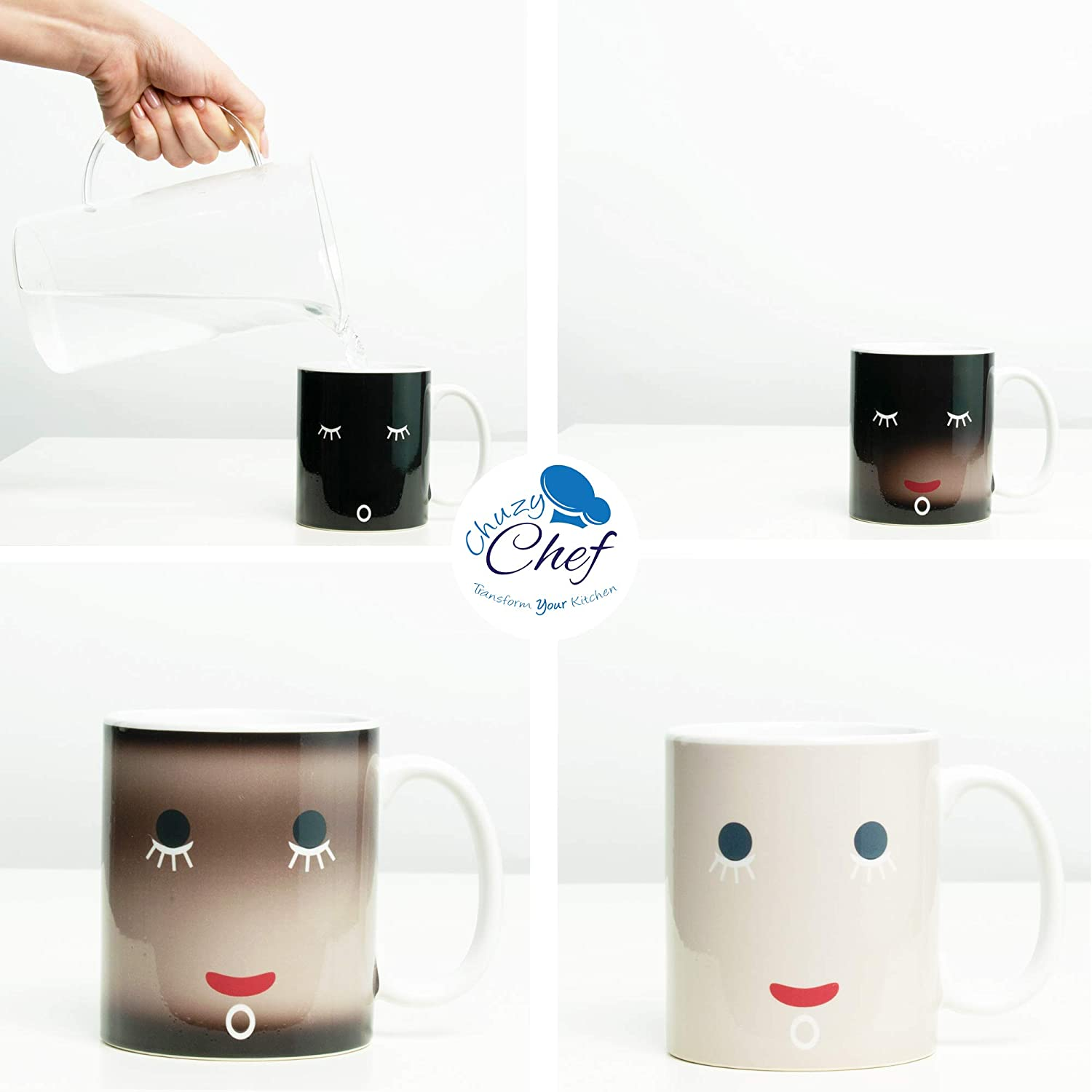 Magic Coffee /& Tea Cool Heat Changing Sensitive Cup 12 oz White Cute Face Design Drinkware Ceramic Mugs Morning Birthday Christmas Gift Idea for Mom Dad Women /& Men Unique Color Changing Funny Mug