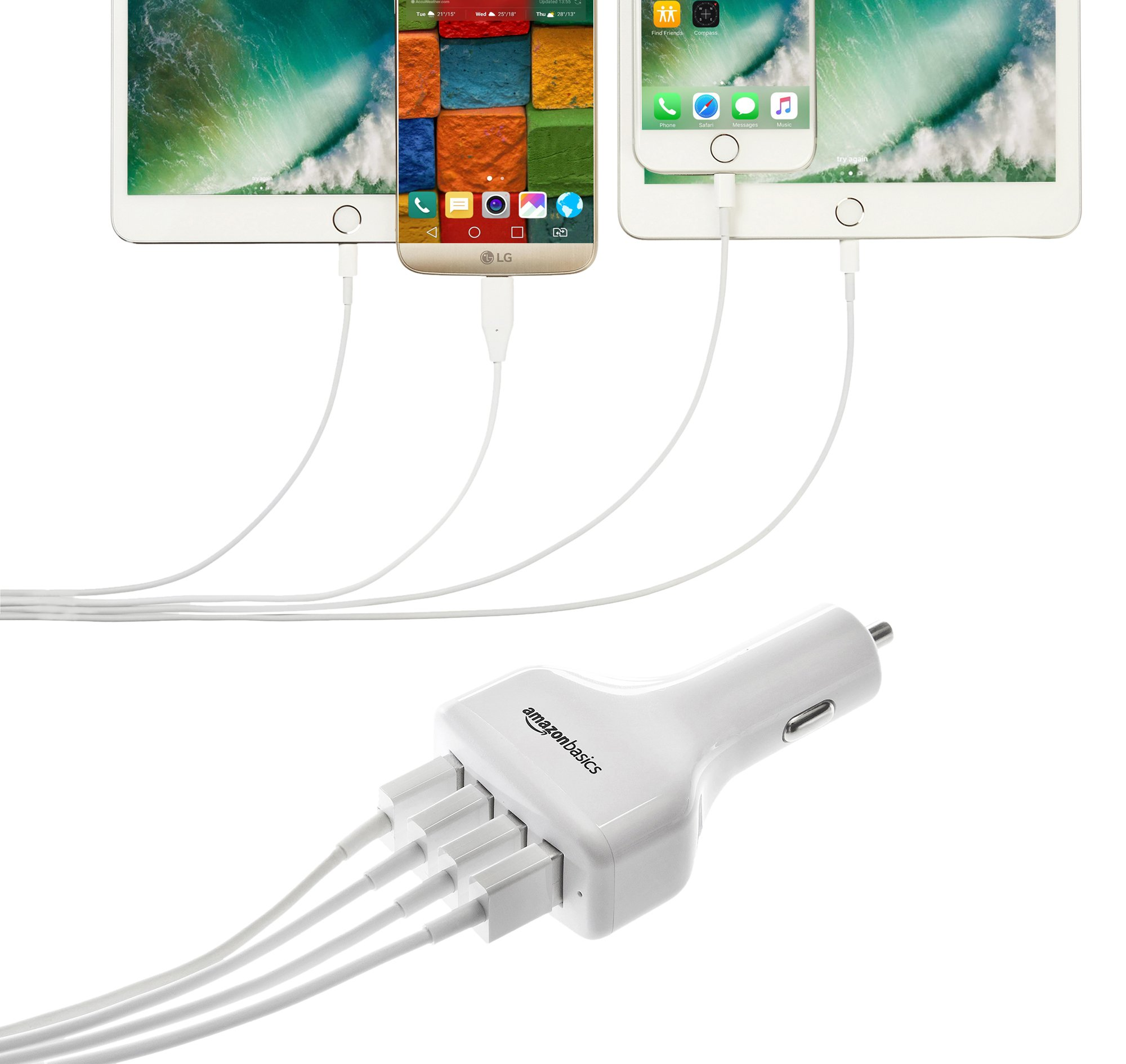 AmazonBasics 4-Port Multi USB Car Charger for Apple and Android Devices, 9.6 Amp 48W, White