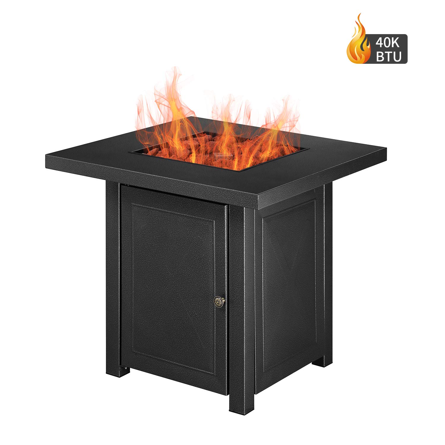 DOIT Outdoor Square 40,000 BTU Propane Gas Fire Pit Table Lava Rocks,28inch Propane Fireplace Strong Steel,Patio Heaters Stove Adjustable Flame by DOIT