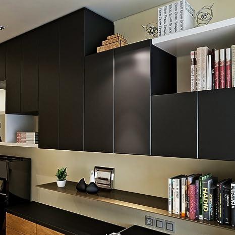 HANMERO reg; Sólido color papel pintado autoadhesivo para muebles vinilos  pegatinas de pared para Cocina/mesa/escritorio/puerta/armario (Negro)