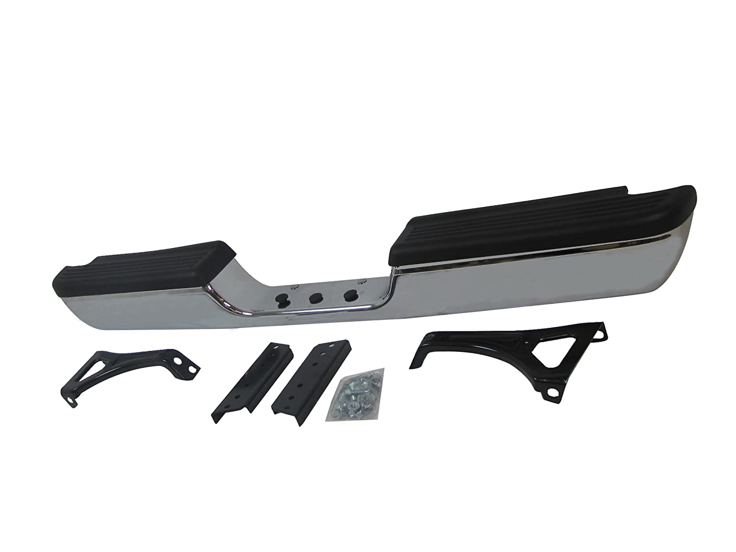 W//o Sport Model with Outer Bracket with Inner Bracket 94-01 Dodge Pickup Ram1500 with Hintch CH1102328 // 94-02 RAM 2500 3500 Pickup Rear Step Bumper Chrome Full Assy with Top Pad