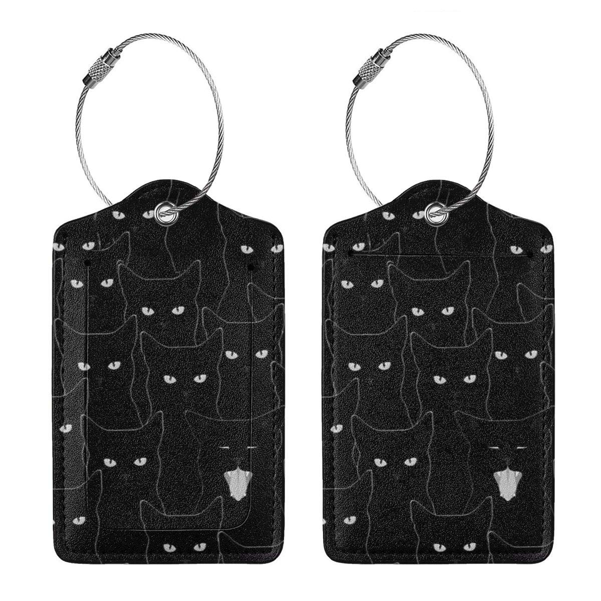 Black Cat Luggage Tag Label Travel Bag Label With Privacy Cover Luggage Tag Leather Personalized Suitcase Tag Travel Accessories