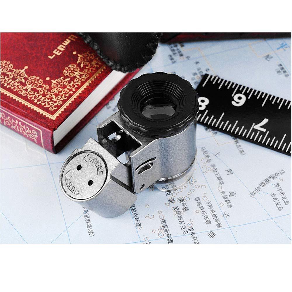 Mini Lupa Port/átil HD 50x Viejo Hombre Lectura Identificaci/ón de la Joyer/ía Lente /Óptica con Luz Led Magnifing de Mano