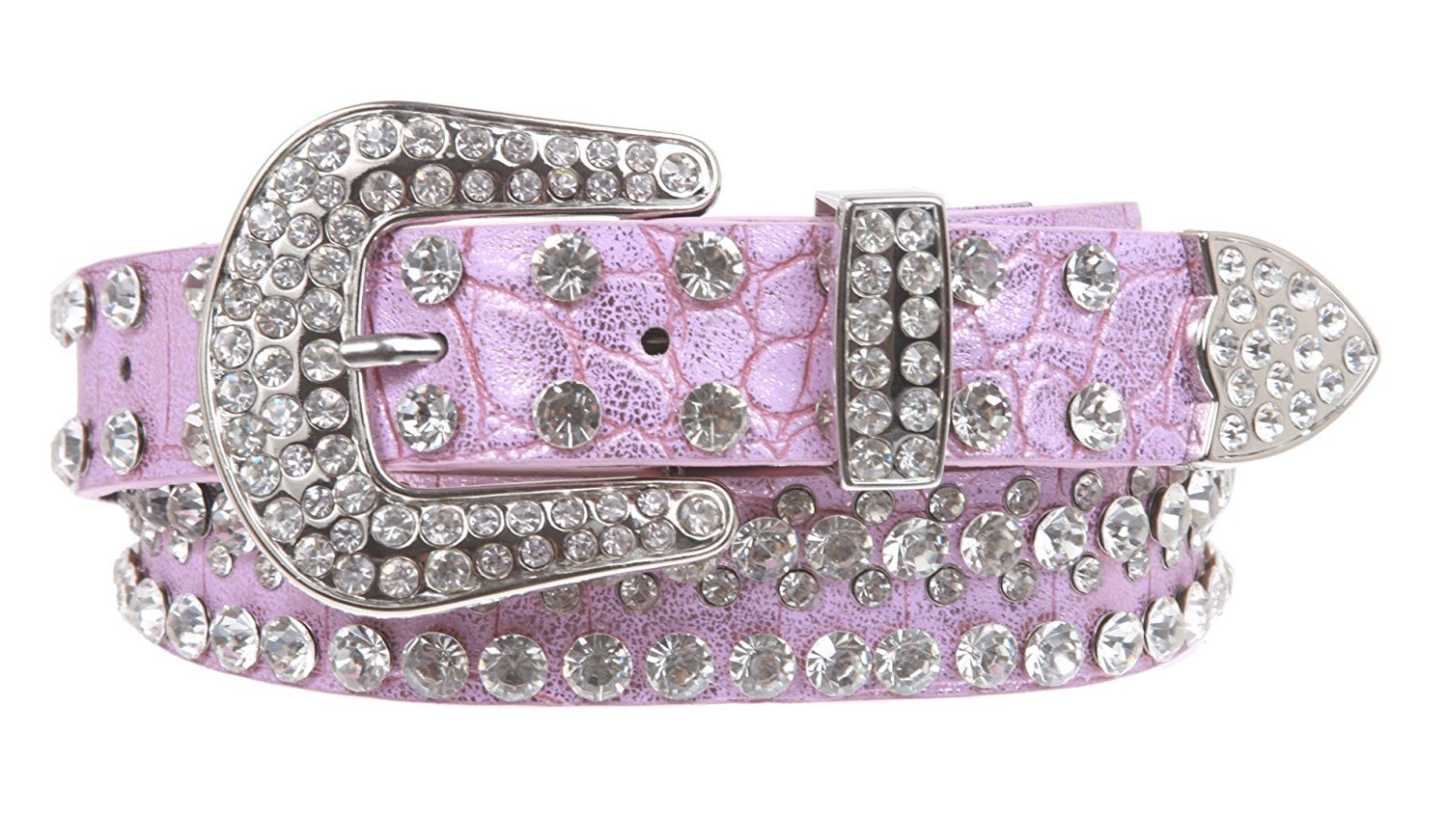 MONIQUE Kids Stylish Western Cowgirl Rhinestone Studded Skinny 27 mm Wide Belt,Pink 24 Inch
