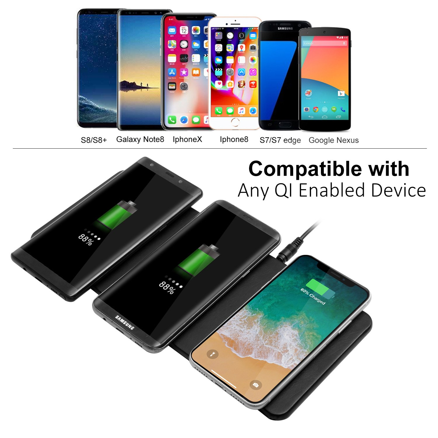 Qi Triple Wireless Charger Station,JE 3 Devices Multi Wireless Charger Pad,Desktop Charging Station for iPhone X, iPhone 8/8Plus, Samsung Galaxy S8+ S7/S7 Edge Note 8/5, Nexus 5/6/7& all QI-Enabled … by JE (Image #3)