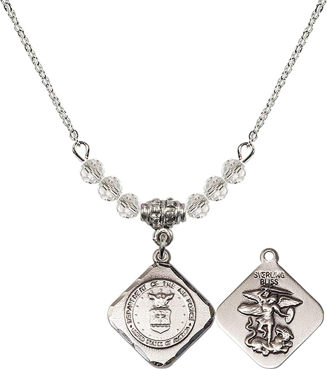 Bonyak Jewelry 18 Inch Rhodium Plated Necklace w// 4mm White April Birth Month Stone Beads and Air Force Diamond Charm