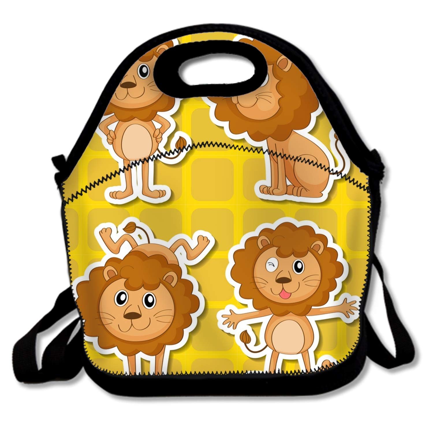 Insulated cute Lunch BagBrown LionsReusable Tote Lunchbox