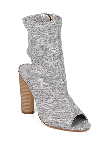 509cc043ce5 CAPE ROBBIN Women Fabric Peep Toe Open Back Stacked Heel Bootie GI84 - Grey  Cotton (