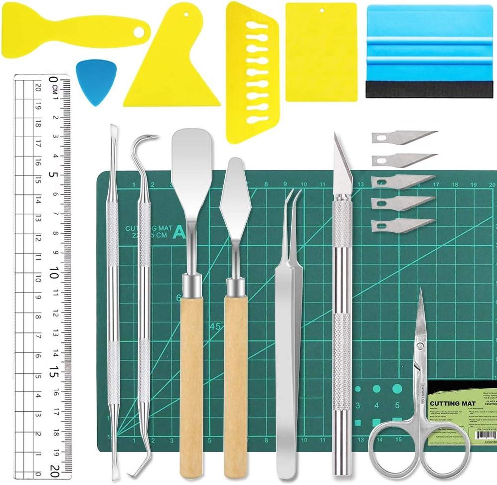 19 piezas de vinilo herramientas de deshierbe accesorios de plotter de acero inoxidable HTV + 1 pieza de tapete de corte A5: Amazon.es: Hogar