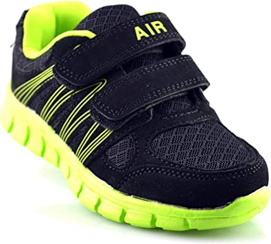 Girls Trainers Superlight Weight Touch Fastening Black Jogger Shoes Size