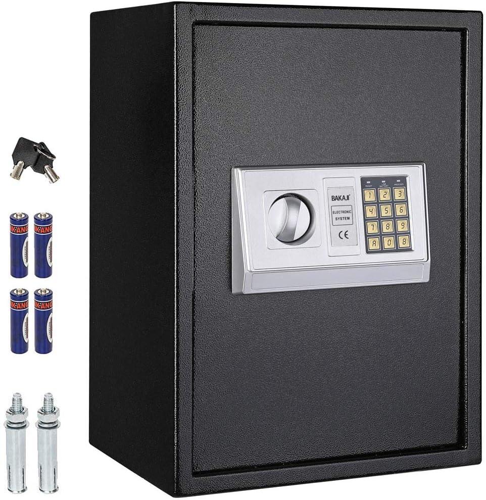 BAKAJI - Caja Fuerte Digital portátil con Cerradura electrónica, Hierro Macizo, Multicolor, Media